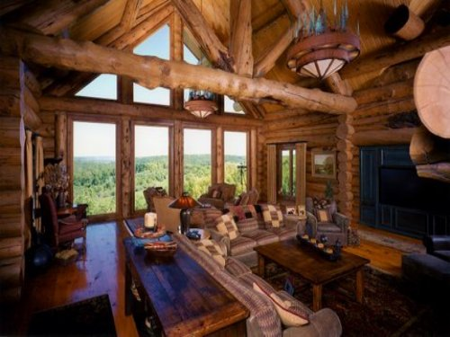 Custom Log Home On 60 Ac Sanctuary : Spring Green : Iowa County : Wisconsin