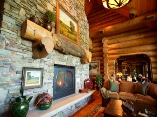 160 Ac Sanctuary W Custom Log Home : Spring Green : Iowa County : Wisconsin