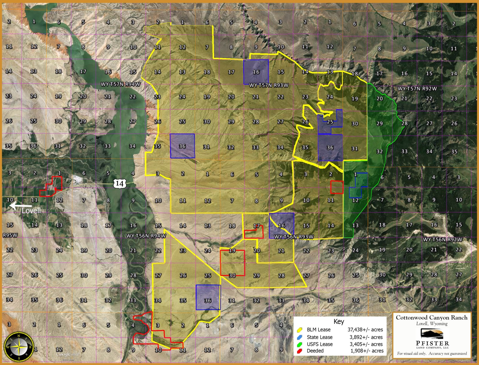 Cottonwood canyon ranch farm for sale lovell big for Wyoming game and fish maps