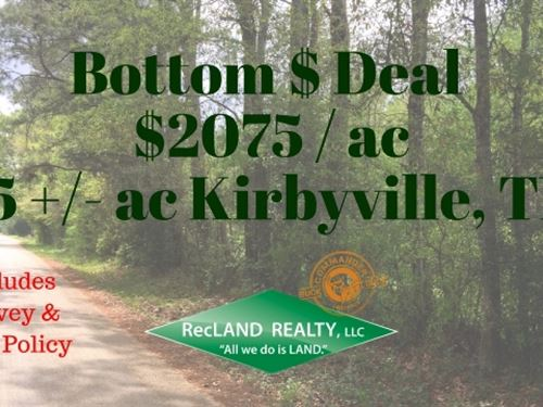 15 Ac Wooded Tract For Home Site : Kirbyville : Jasper County : Texas