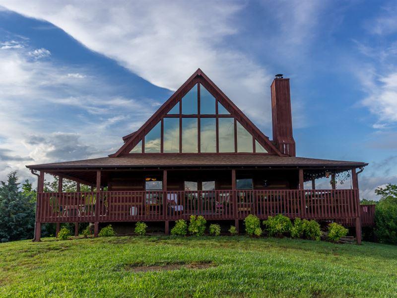 Custom Built Log Home W Lake View Farm For Sale