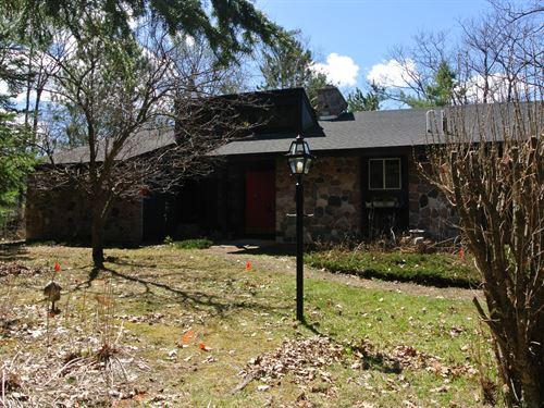 3 Bd Home On Tippecanoe Lk + 22.5Ac : Lac Du Flambeau : Vilas County : Wisconsin
