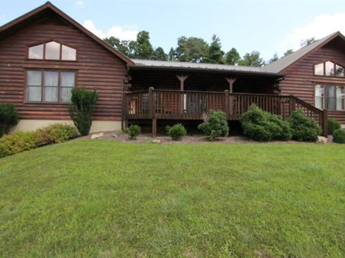Large Log Home With Big View : Elk Creek : Grayson County : Virginia