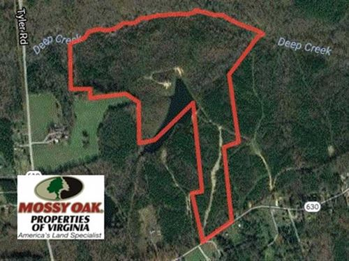 96 Acres of Recreational Land For : Crewe : Nottoway County : Virginia