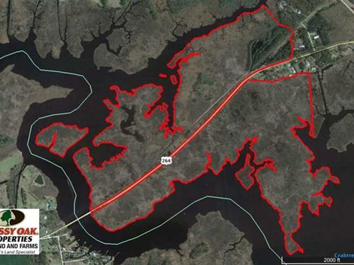 Reduced, 286 ac Waterfront Huntin : Leechville : Hyde County : North Carolina
