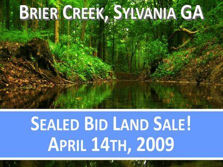 Sealed Bid Land Sale April 14th : Sylvania : Screven County : Georgia