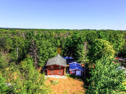 Log Home On Muskegon River 45A : Sears : Osceola County : Michigan
