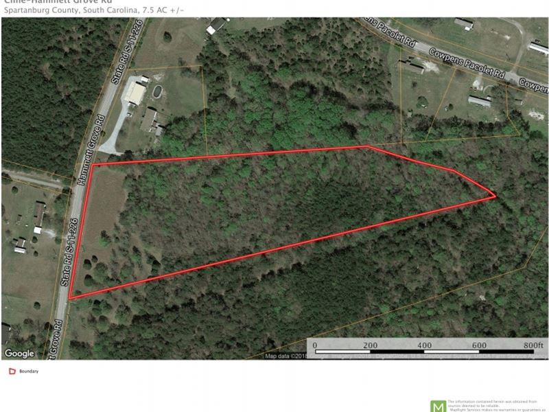 7.5 Unrestricted Acreage Near : Spartanburg : Spartanburg County : South Carolina