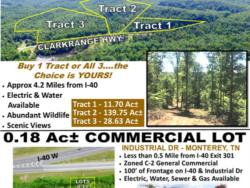 180 Ac In 3 Tracts & Commercial Lot : Monterey : Putnam County : Tennessee