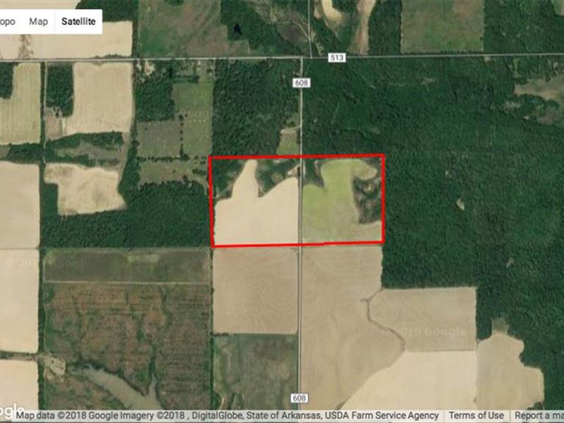 80 Acres Farmland Located on Sa : Hazen : Prairie County : Arkansas
