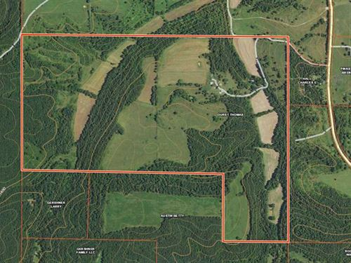 Home on 360 Acre Farm Offering Bot : Huggins : Texas County : Missouri