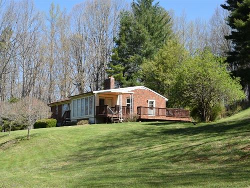 Large Wooded Acreage & Brick Ranch : Floyd : Virginia