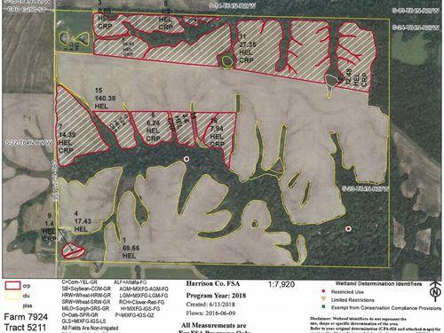 480 Acres M/L Row Crop, Crp Hunting : Ridgeway : Harrison County : Missouri