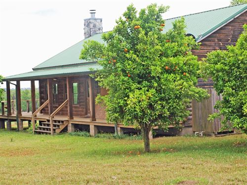 N FL Log Home On Mini-Ranch : Monticello : Jefferson County : Florida