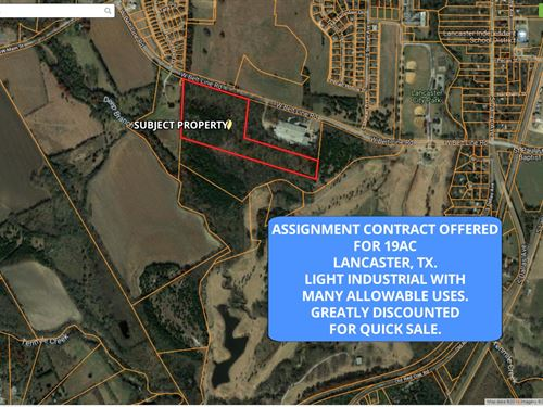 Light Industrial Land, Great Price : Lancaster : Dallas County : Texas