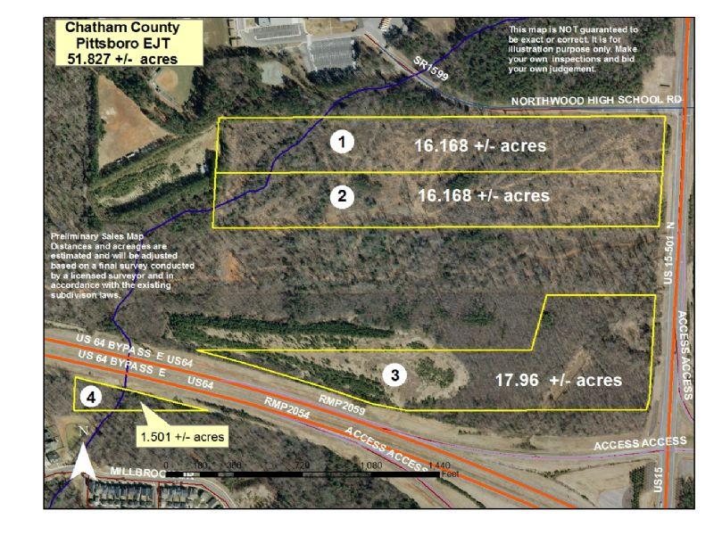 50+/- Acres On Highway 15/501 & 64 : Pittsboro : Chatham County : North Carolina