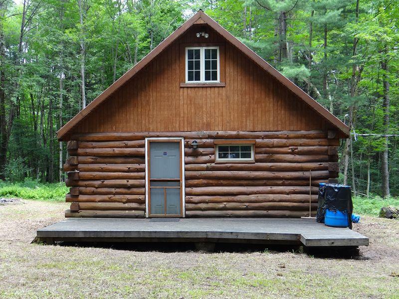 43 Acres Log Cabin Borders Forest : Mcdonough : Chenango County : New York