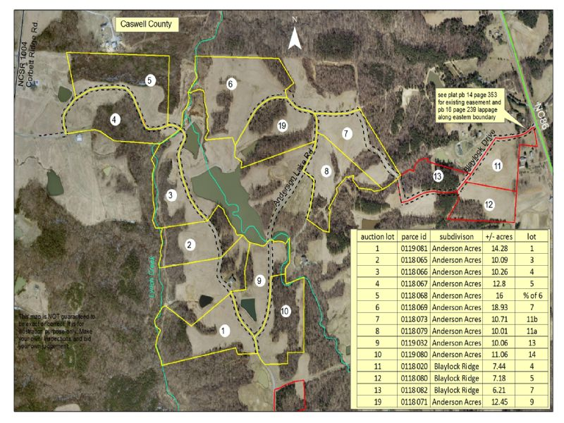 219 Acres Divided : Prospect Hill : Caswell County : North Carolina