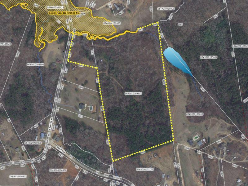 21.33 Acres W/ Mountain Views : Taylors : Greenville County : South Carolina