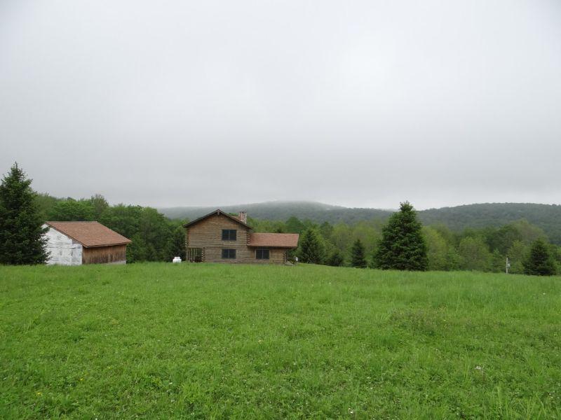 Log Home On 37+ Acres : Burlington Flats : Otsego County : New York