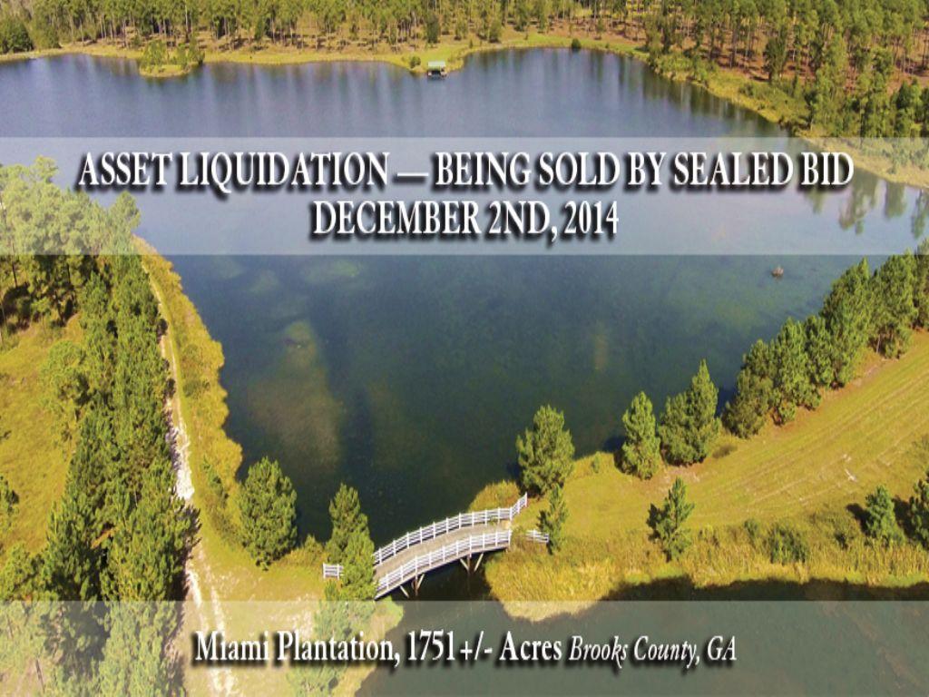 Miami Plantation Asset Liquidation : Quitman : Brooks County : Georgia