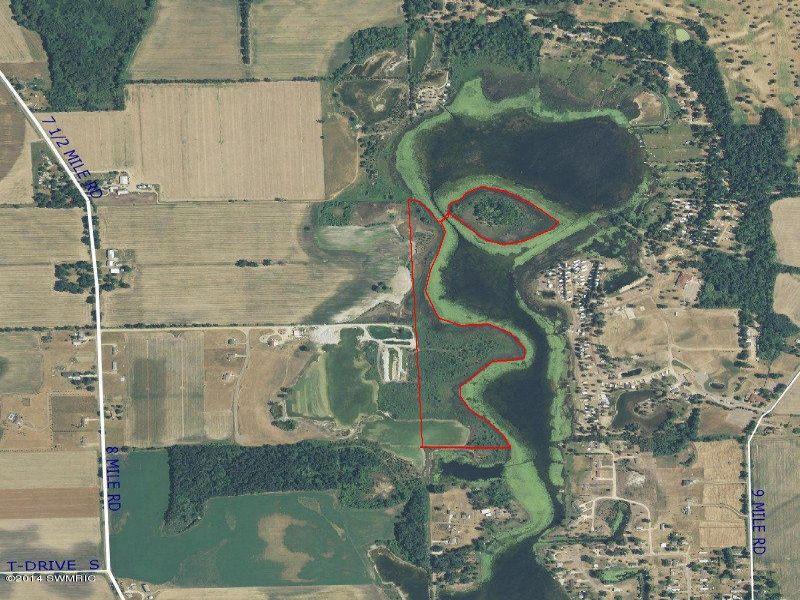 26 Acres With Island In Turtle Lake : Union City : Calhoun County : Michigan