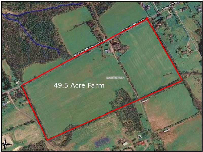 49.5+/- Acres Farmland : Milford : Hunterdon County : New Jersey