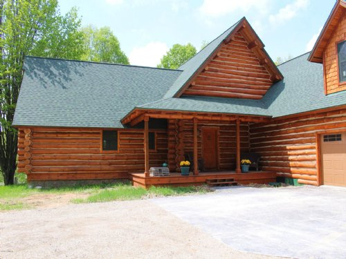 Custom Log Home On 40 Acres : Afton : Cheboygan County : Michigan